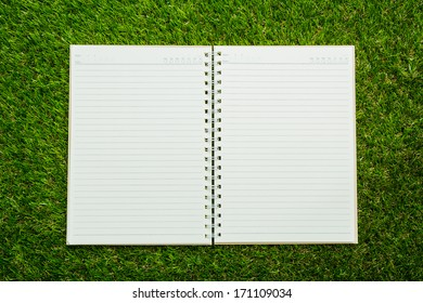Notebook on fresh spring green grass