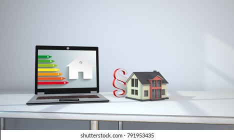 Notebook on the table with house building, paragraph and energy efficiency scale. 3d illustration.