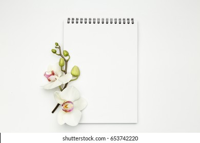 Notebook on white table with orchid, on white background