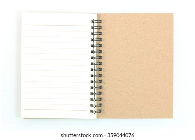 notebook is opening on white background.