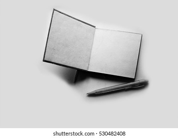 notebook paper in black and white style