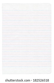 Notebook paper with colorful lines isolated on pure white background