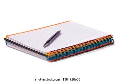 Notebook and pen in composition isolated on white background