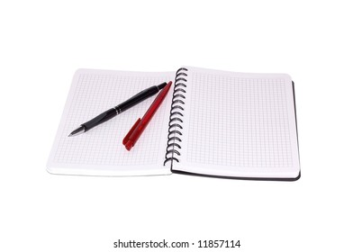 Notebook and pen isolated on a white background.