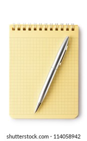 Notebook and pen. Top view. Isolated on a white.