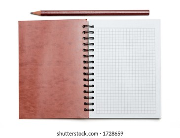 Notebook and pencil.
