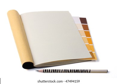 Notebook with pencil and color swatch isolated on the white. - Shutterstock ID 47494159