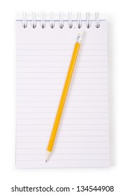Notebook and pencil isolated on white background.