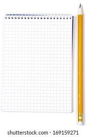 Notebook and pencil isolated on white background