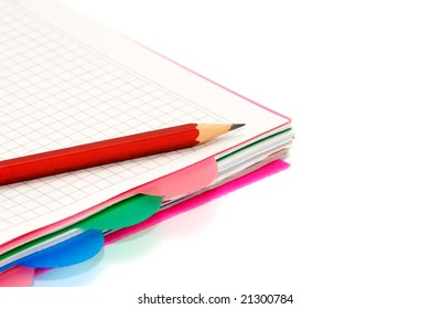notebook and pencil isolated on a white background