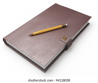 notebook and pencil on white.  3d rendered image