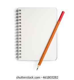Notebook and pencil on white background, isolated