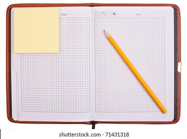notebook with pencils and stickers