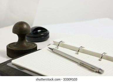 notebook and personal seal