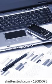 Notebook, phone, business technology