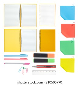 Notebook and school or office tools isolated on white background  And Clipping path