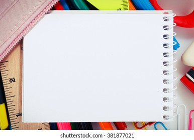 Notebook with stationary objects with copyspace
