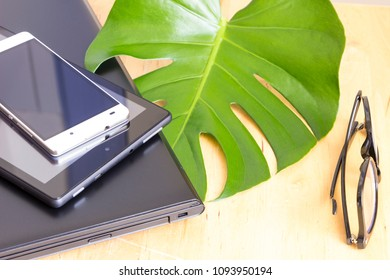 notebook, tablet computer and mobile phone