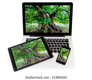 notebook, tablet and mobile phone on white Background