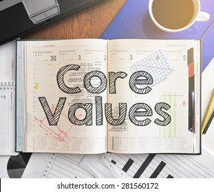 Notebook with text inside Core Values on table with coffee, laptop and some sheet of papers with charts and diagrams