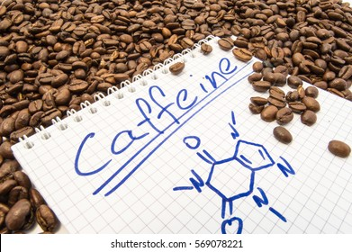 Notebook with text title caffeine and painted chemical formula of caffeine is surrounded by fried ready to use grains of coffee beans. Visualization caffeine as main alkaloid of fruit of coffee tree