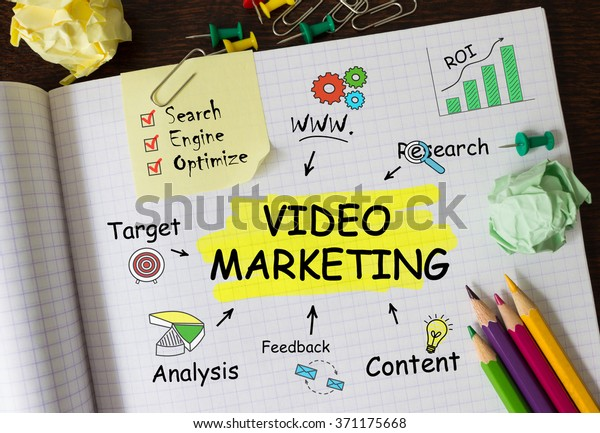 Notebook with Tools and Notes About Video Marketing,concept