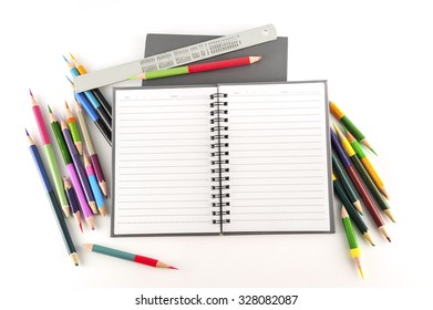 Notebook and Wood color isolated on white background