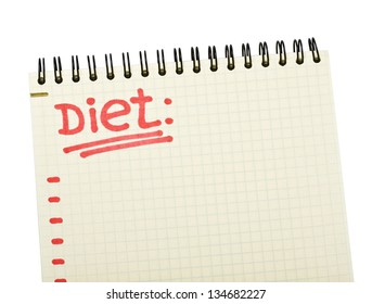 notebook with the words diet plan