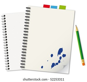 Notebooks and green pencil - an illustration for your design project.
