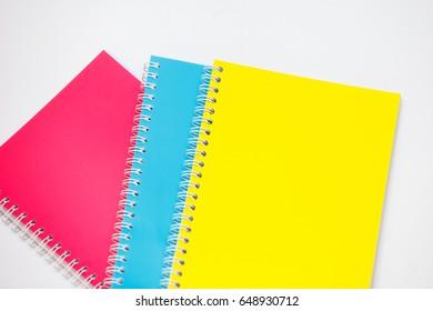 Notebooks on white background.