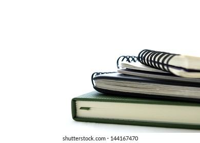 notebooks with soft shadow on white background