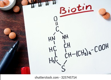 Notepad with biotin  and pills on the table.