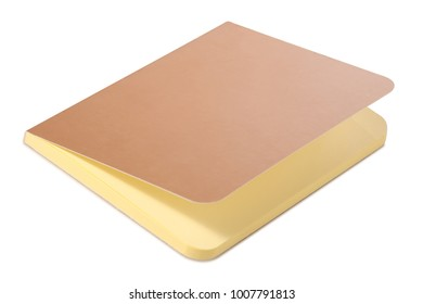 Notepad diary gold on white background isolation