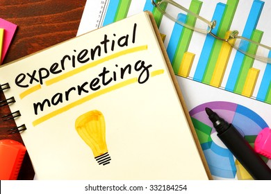 Notepad with experiential marketing concept.