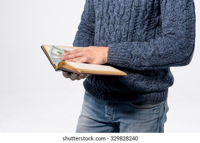 notepad with money in hands