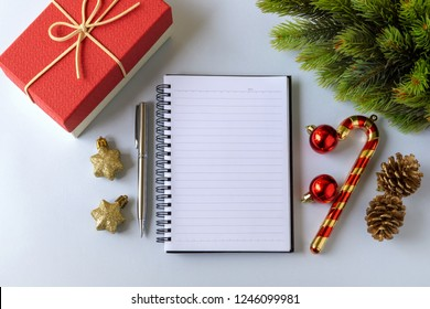Notepad and ornaments - New Year and Christmas ornaments.