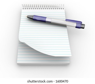 Notepad and pen - 3D render