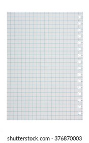 Notepad, sheet in a cage on a white background