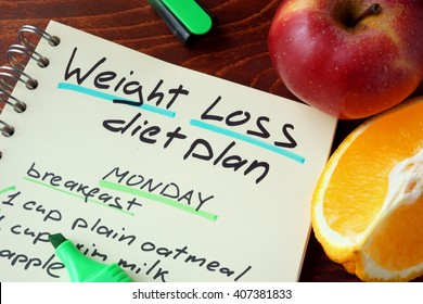 Notepad with sign weight loss diet plan.