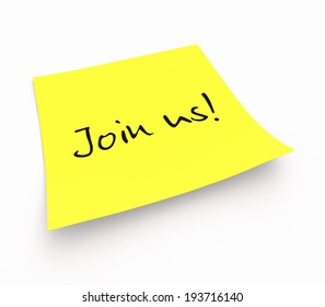 notepaper concept - Join us!