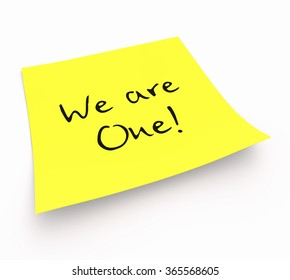 notepaper concept - We are One