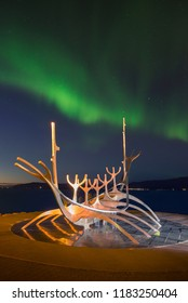 Nothern Light over the Sun Voyager. Reykjavík, Iceland. 14 September 2018