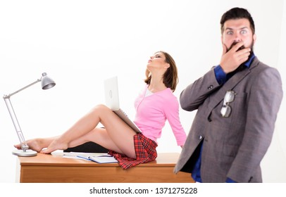 Nothing personal its just business. Sensual personal assistant relaxing on desktop in front of shocked boss. Sexy secretary using personal computer for business. Professional and personal growth.