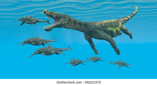 Nothosaurus attacks Shonisaurus 3D Illustration  - Shonisaurus Ichthyosaurs are prey and hunted by the enormous Nothosaurus aquatic reptile in Triassic seas.