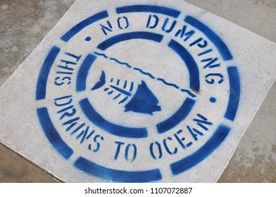 Notice: No Dumping this drains to Ocean