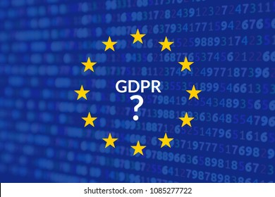 Notice slide for the European regulation on the management of private data GDPR. EU flag with the background source code of a software and claim GDPR? Confusion about privacy GDPR in EU. Not compliant