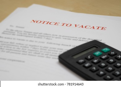 NOTICE TO VACATE (FINANCIAL DIFFICULTY CONCEPT)