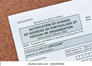 Notification of change of address of particulars of person or organisation application form which can be found at the South African drivers licence department offices.