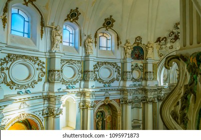 NOTO, ITALY, APRIL 25, 2017: Interior of the chiesa di Santa Chiara in Noto, Sicily, Italy