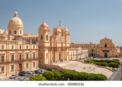 NOTO, ITALY - SEPTEMBER 14, 2015: Noto Cathedral is a Roman Catholic cathedral in Noto in Sicily, Italy. UNESCO World Heritage Site.